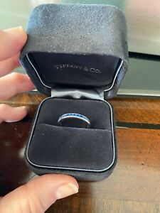 Tiffany & Co 950 Platinum Sapphire Half Band Ring Size 8
