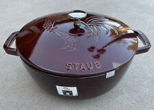 New listing Staub Cast Iron 3.75 Qt. Essential French Oven Red Rooster Dutch Oven Grenadine