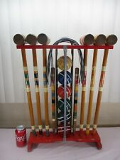 Vintage Wooden 6-PLAYERS Croquet Set with Wood Stand Ribbed Balls COMPLETE