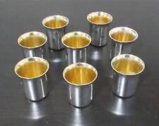 VINTAGE SIGNED BIER STERLING SILVER ISRAEL JUDAICA GOLD WASHED LIQUOR CUPS 8 PCS