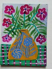 ORIGINAL ACEO Folk Art Botanical Flower Vase Pot Still Life Stem Leaf Whimsical