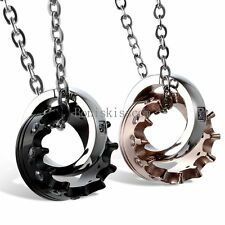 His and Hers Stainless Steel Queen Crown Couple Ring Charm Pendant Necklace 2pcs