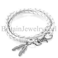 Men Women Handmade Braided Leather Wrap Bracelet Feather Charm Bangle Jewelry