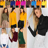 WOMEN LONG SLEEVE PLAIN POLO TURTLE NECK ROLL NECK TOP JUMPER