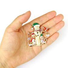 Vintage Bird Xmas Christmas Enamel Party Snowman Gift Brooch Jewelry Pin