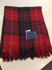 Scottish Throw 100% Lambswool Blanket Fraser Red Green Tartan Check Plaid Warm