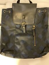 Lands End Womens Backpack Navy Blue And Black  Drawstring Travel Purse