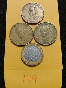 🇩🇴 (4) Dominican Republic Coins 3*1992 1 Peso & 1997 5 Pesos 🇩🇴
