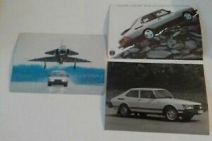 SAAB 900 Turbo etc 1982 3 Picture Postcards