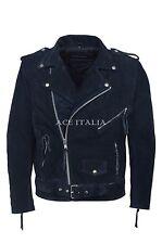 Mens Leather Jacket Blue Suede Biker Style REAL COWHIDE JACKET BRANDO MBF