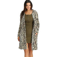 US Womens Long Sleeve Leopard Print Button Fashion Coat Cardigan With Pockets