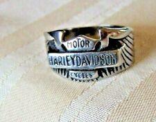 HARLEY DAVIDSON SILVER BAR & SHIELD WING MEN'S RING SZ 12 SHARP