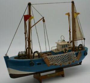 """Display model wooden Trawler """" Chaultier."""" Blue. Needs docking for cleaning."""