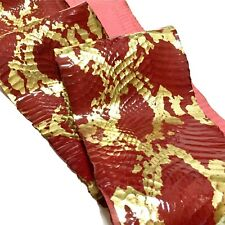 Asia snake skin hide leather snakeskin metallic python print Red