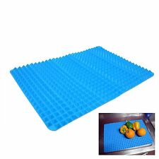 New Blue Silicone Roll Sink Drainboard Dish Tray Silicone Mat Kitchen Organizer
