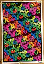 Original Vintage Blacklight Poster Cubes Psychedelic Geometric Shapes 2000's