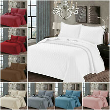 3 Piece Embossed Bedspread Quilted Throw Comforter Bedding Set with Pillow Shams