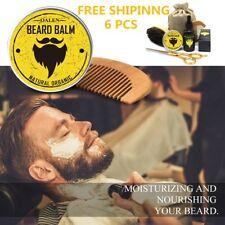 6Pcs Men Beard Care Kit Beard Balm Beard Oil Brush Comb Scissor Storage Bag  R6