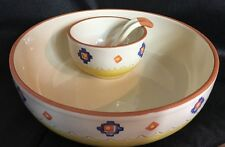 Santa Fe Hand Painted Chip & Dip Set Large Small Bowl With Spoon Set Portugal