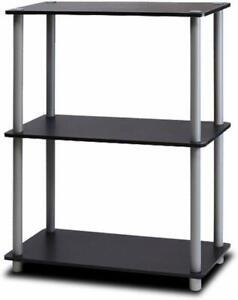 Furinno Wooden Shelving Unit 3 Tier Multipurpose Shelf - Black and Grey