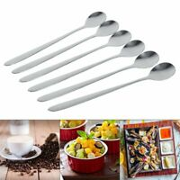 6PCS Stainless Steel Stylish Long Handle Sundae Kitchen Tea Soup Spoo Teaspoons