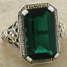 6 CT. SIM EMERALD ANTIQUE DESIGN .925 STERLING SILVER RING SIZE 8,   #533