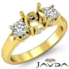 Round Diamond 3Stone Engagement Bezel Prong SemiMount Ring 14k Yellow Gold 0.5Ct