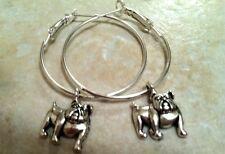 "animal pet lover dog show Bulldog 1"" Silver Hoop Earrings,"