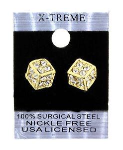 Gold Hip Hop Dice Shape CZ Mens Stud Earrings