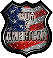 """ProSticker 830 (One) 5"""" Buy American Decal Sticker American Flag Road Sign"""