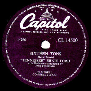 Klassisch 1955 UK #1 Tennessee Ernie Ford 78 Sixteen Tons Capitol CL14500 E