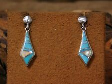 and Lab Opal Earrings Vintage Sterling Silver Inlay Turquoise