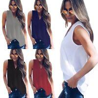 Women V Neck Chiffon Sleeveless Vest Blouse Casual Tank Loose Summer Shirts