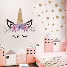 Unicorn Flower Dot Wall Art Stickers Girls Bedroom Kids Nursery Decal Home Decor