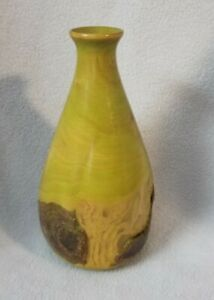 Birch Wood 7 inch Flower Vase Designer Signed W. Houlk Houck Lime Green Bud
