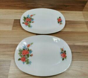 "2 x Vintage JAJ Pyrex Cottage Rose Pattern Oval Steak Plates  12"" x 9"""