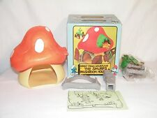 "Vintage ""ORIGINAL"" Smurf Large Boxed Mushroom House Schleich MIB  NICE PLAYSET"