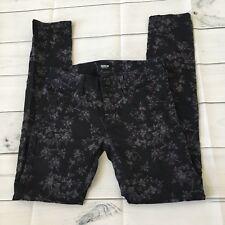 HUDSON Floral Black Purple Collin Midrise  Skinny Pants size 26   C1