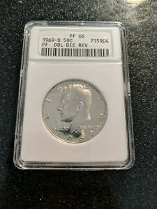 1969-S Kennedy Half Dollar ANACS PF-66 DDR Double Die Reverse Very RARE