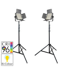 BiColour LED Panel Video Lighting Twin Kit with Stands Film Interview  Portable