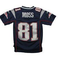 Reebok Randy Moss New England Patriots #81 Blue Football Jersey Youth Size Small
