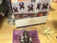 LOT 3 + ANIMATED DROPPING SKELETON FUZZY LIGHT STRAND SPIDERS HAunted decor