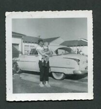 Vintage Car Photo Woman Holding Baby w/ 1952 Oldsmobile 990008
