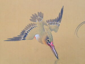 JAPANESE ART PAINTING Kingfisher HANGING SCROLL FROM JAPAN Vintage Picture e325