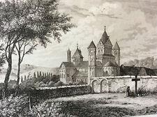 Estampe empire occident couvent de Laach milieu XIXeme siècle DEUTSCHLAND