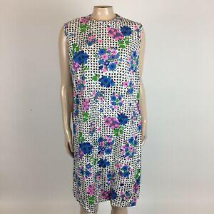 Vintage 60's Merrilee Modes Summer Shift Dress Floral Polka dot Cotton W10