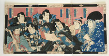 Original JAPANESE UKIYO-E WOODBLOCK TRIPTYCH  with writing on the back