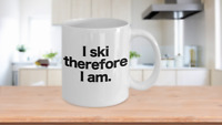 Ski Mug White Coffee Cup Funny Gift for Downhill Water Cross Country Slopes Ski