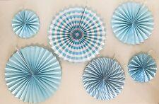 6 Variety Sizes Pattern Blue Pompoms Decoration Tissue Paper Fans Wedding/Party