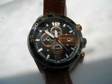 Fossil chronograph men's brown leather band.quartz,Analog & used watch.Ch-2559